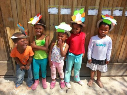 kids in Lesotho with hats